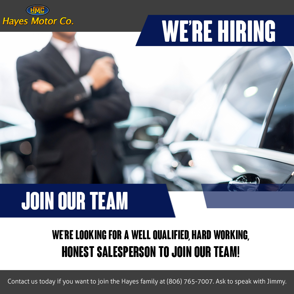 Employment opportunity hayes motor company lubbock tx for Hayes motors lubbock tx